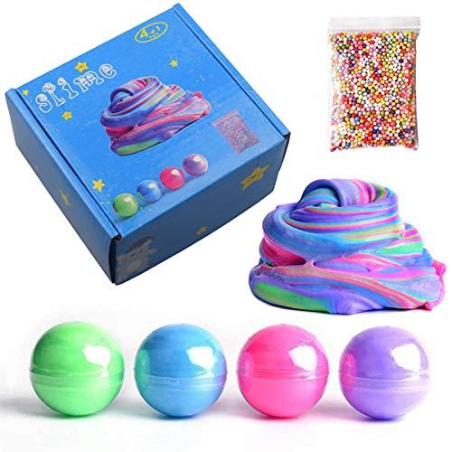 2 Pack Galaxy Slime SWZY Fluffy Egg Slime Ball Kit 1 Pack Pearl Slime 1 Pack Fruit Slice Slime