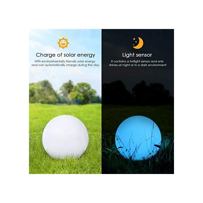 51OHph7E8mL ? 8 Colores Ajustables y 2 Modos de Iluminación - Albrillo luz solar exterior le ofrecen 8 colores diferentes de luz (blanco, rojo, verde, azul, amarillo, púrpura, cian, rosa) y 2 modos de iluminación (modo gradiente y modo flash). Puede elegir su color favorito y el modo más adecuado en diferentes entornos de aplicación. Además, el brillo y la velocidad del cambio de la luz también se pueden cambiar según su gusto ? Impermeable IP68 - Gracias a su clasificación de impermeabilidad IP68, puede colocar esta luz solar de bola en cualquier lugar al aire libre como jardín, patio o césped. Incluso si llueve, no tiene que preocuparse por afectar sus componentes electrónicos internos. Por eso, también se puede usar como una hermosa decoración en la piscina ? Bajo Consumo y Respetuoso del Medio Ambiente - Esta LED luz solar exterior se puede cargar con energía solar durante el día mientra que usar USB para cargar en días lluviosos. No solo eso, la lámpara exterior apaga cuando hay luz suficiente