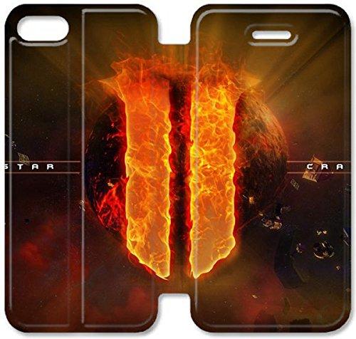 Flip étui en cuir PU Stand pour Coque iPhone 5 5S, bricolage 5 5S Coque Case étui de téléphone cellulaire en cuir StarCraft II X4I4VS CellCoque iPhone