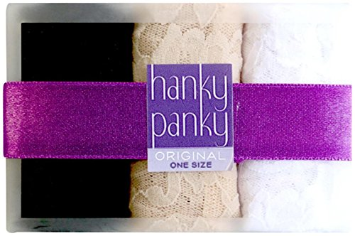 Hanky Panky Women's Signature Lace Original Rise Thong 3-Pack Black/Chai/White Thongs One (Signature Womens Thongs)