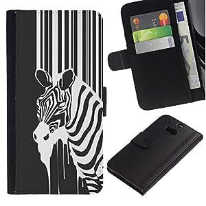 All Phone Most Case / Oferta Especial Cáscara Funda de cuero Monedero Cubierta de proteccion Caso / Wallet Case for HTC One M8 // B&W Zebra