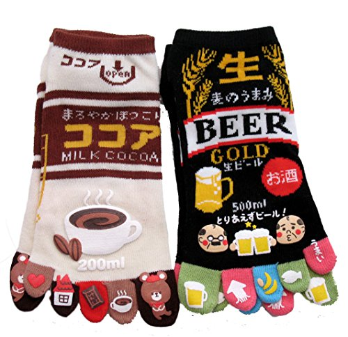 king-original-japanese-five-toe-ankle-socks-2-pairs-hot-cocoa-and-draft-beer