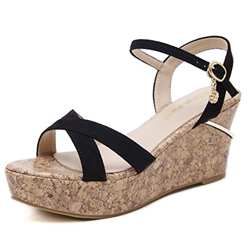COOLCEPT Mujer Dulce Correa de Tobillo Correa Sandalias Tacon de Cuna Punta Abierta Slingback Zapatos Negro