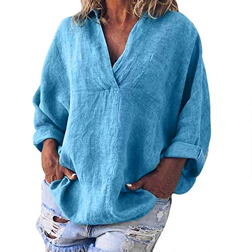 ANJUNIE Women Fashion Plus Loose Tops Solid Casual Linen Deep V-Neck Blouse Comfy Vintage T-Shirt(Blue,XXXXXL)