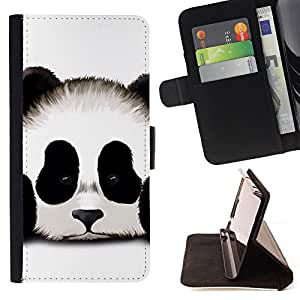 Super Marley Shop - Leather Foilo Wallet Cover Case with Magnetic Closure FOR HTC One M7- Panda Cute Face