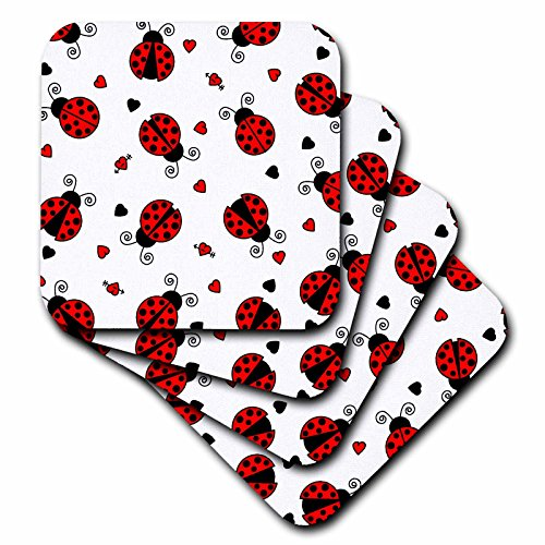Ladybug Ceramic Tile (3dRose cst_12100_4 Love Bugs Red Ladybug Print with Hearts Ceramic Tile Coasters, Set of 8)