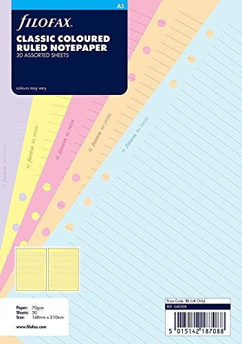 Repuesto de Agenda sin Fecha Filofax Todos los Tamaños y Variantes para Agendas Filofax - A5 -Papel para Notas de Color Clásico Rayado