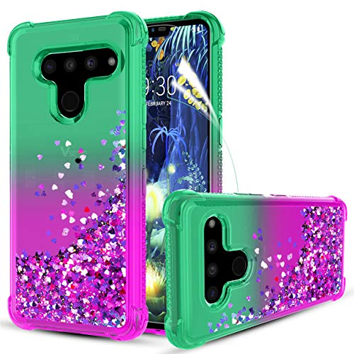Bincoch LG V50 ThinQ Case,with HD Screen Protector Quicksand Bling Glitter/Sparkle Heart-Shaped Sequin TPU Bumper Heavy Duty Shockproof Protective Case for Women and Girls, Mint/Purple