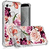 for Google Pixel 3a Case,Pixel 3 Lite Flower Case Girls Shock-Absorption Flexible Cell Phone Soft Silicone Full-Body Protective Cover for Google Pixel 3a(Purple Flower)