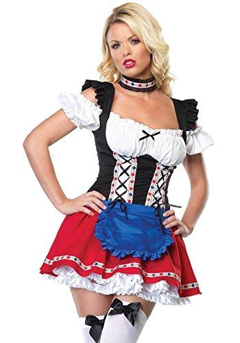 KINDOYO Women's Sexy Dirndl Dresses Halloween Oktoberfest Parties Costume Beer Maid Cosplay Fancy Dress, -