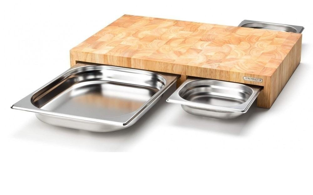 Cutting Board with 3 Removable stainless steel Drawers by Continenta out of rubber tree wood