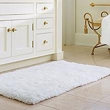 "Norcho 31"" x 19"" Soft Shaggy Bath Mat Non-slip Rubber Bath Rug Luxury Microfiber Bathroom Floor Mats Water Absorbent White"