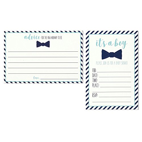 Boy Baby Shower Invitation - 32 Pack Baby Shower Invitations for Boy & Advice Cards Set - 16 Advice Cards & 16 Fill in Style Invites - Blue Bowtie & Stripes Design - Envelopes Included, 4 x 6 Inches