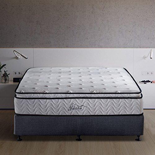 Jacia House 11.4 Inch Memory Foam Innerspring Independently Encased Coil Hybrid Mattress – Pillow Top Mattress – Bed in a Box -Queen