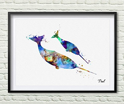 Amazon.com: Narwal Watercolor art print Narwal poster wall art wall ...