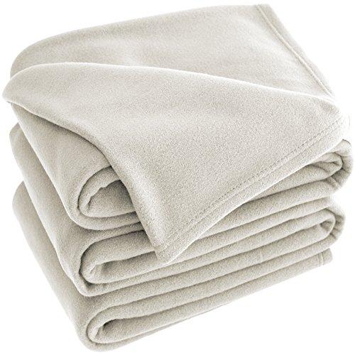 Bare Home Polar Fleece Cozy Bed Blanket - Hypoallergenic Premium Poly-Fiber Yarns, Thermal, Lightweight Blanket (Twin XL/Twin, Ivory)