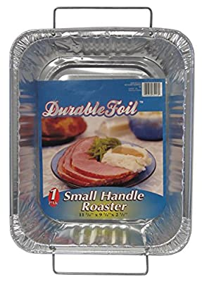 "Durable Foil Small Handle Aluminum Roasting Pan, 12-3/4"" x 10-3/8"" x 2-9/16"" (Pack of 12)"