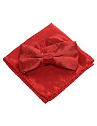 Boys Bow Ties Pocket Square Set - Pre Bow Tie Handkerchief for kids, Festival (Red)