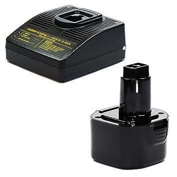 CELLONIC® Batería Premium 14.4V, 3Ah, NiMH + Cargador Compatible con Black & Decker CD96 / CD96CA / KC96 / KC96C - A9242, A9251, A9265, A9272, PS120 ...
