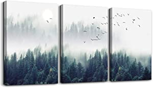 "3 Piece Canvas Wall Art for Living Room - Misty Forests of Evergreen Coniferous Trees in an Ethereal Landscape - Modern Home Decor Stretched and Framed Ready to Hang - 12""x16""x3 Panels wall decor"