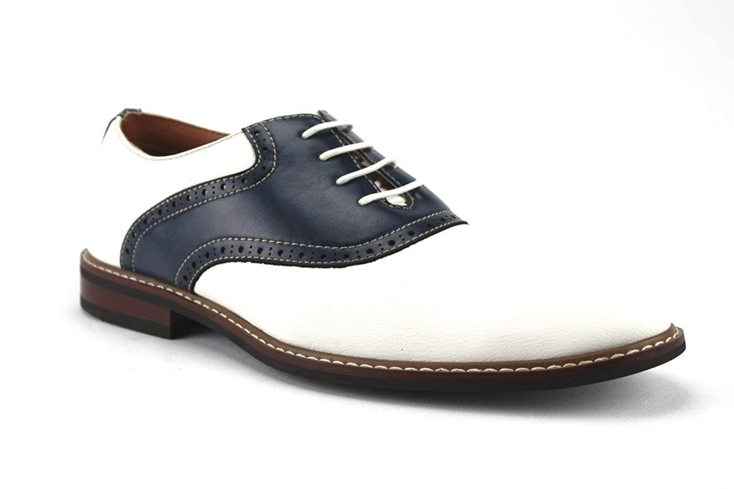 Retro Clothing for Men | Vintage Men's Fashion Ferro Aldo Mens 19268A Two Tone Saddle Lace Up Oxfords Dress Shoes  AT vintagedancer.com