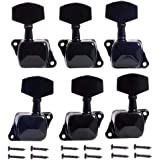 Aleola Semiclosed Guitar Tuning Pegs Tuners Machine Heads Knobs Tuning Keys for Chrome Acoustic or Electric Guitar (6 Pieces 3L3R )