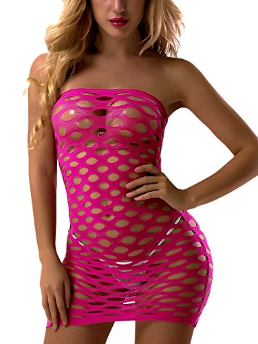 FasiCat Women's Strapless Chemise Babydoll Fishnet Lingerie Mini-Dress One Size Hotpink ()