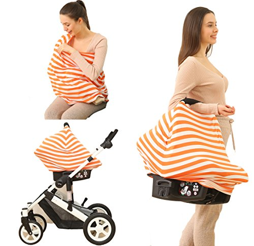 Baby Car Seat Cover canopy nursing and breastfeeding cover(orange and white stripe)