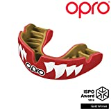 Opro Power-Fit Mouthguard | Adult Handmade Gum Shield for Football, Rugby, Hockey, Wrestling, and Other Combat and Contact Sports - 18 Month Dental Warranty (Ages 10+) (Red Jaws)