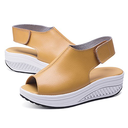 Casual Sports Stick Toe Flatform Brown Sandals Sandals Magic Peep Womens ANDAY 5nx8qtPwZC