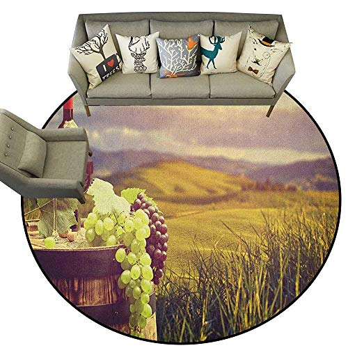 Wine,Area Rugs Italy Tuscany Landscape Rural Vineyard Autumn Harvest Grapes Drink Viticulture D72 Round Mats for Living Room Bedroom Study - Grape Round Rug