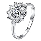 Yoursfs Snowflake Ring for Women 18K White Gold Plated Flower CZ Unique Engagement Ring Jewelry