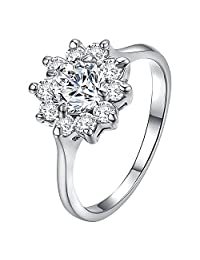 Yoursfs Snowflake Ring for Women 18k Gold Plated Halo Zirconia Flower Wedding Rings Jewelry Gifts