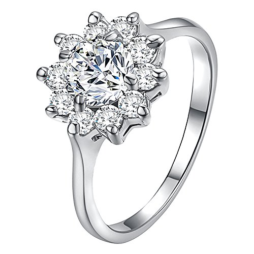 Yoursfs Crystal Rings for Women 18K White Gold Plated Flower CZ Unique Engagement Ring Jewelry