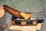 Leather Guitar Strap - Adjustable, hand tooled hawk bird - Custom Handmade