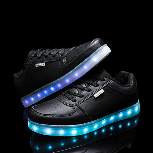 O & N Kvinna Man Låg Topp Ledde Mode Sneakers Lyser Par Blinkande Skor Svarta