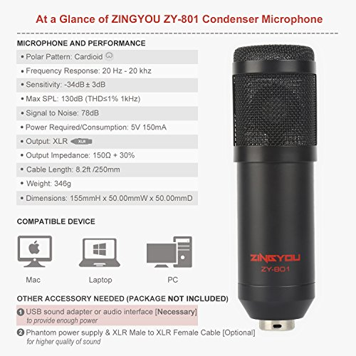 ZINGYOU ZY-801 Professional Studio Microphone, Desktop Computer Cardioid Condenser Mic with Tripod for PC Recording, Broadcasting (Black) by ZINGYOU (Image #1)