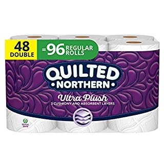 Quilted Northern Ultra Plush Toilet Paper, 3 Ply Bath Tissue, 12 Count of 142 Sheets Per Roll, Pack of 4