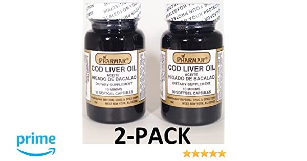 Amazon.com: Aceite De Higado De Bacalao Capsules 2 x 50s (100 softgels Total) Cod Liver Oil 2-PACK: Health & Personal Care