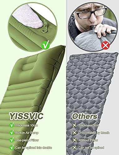 51OHtcThknS YISSVIC Isomatte Camping Selbstaufblasbare Luftmatratze mit eingebauter Pumpe Verdickte Schlafmatte Outdoor mit Kissen…