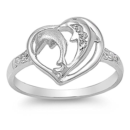 White CZ Beautiful Dolphin Heart Ring New .925 Sterling Silver Band Size 8