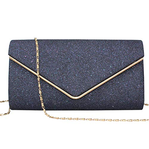 GESU Womens Shining Envelope Clutch Purses Glitter Evening Bag Handbags For Wedding and Party. (Blue) (Princess Party Purses)