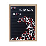 Black Felt Changeable Letter Board, 12x16 Inch Oak Frame, Includes 340 White and 170 Red Letters, Numbers, and Symbols
