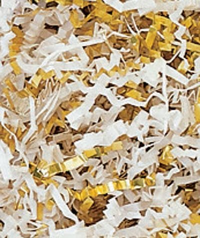 Gold & White Metallic Crinkle Cut Blend Fill (1 Box) - BOWS-431-12-GB by Miller Supply Inc