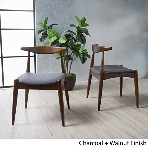 Sandra Charcoal Fabric Mid Century Modern Dining Chairs (Set of 2)