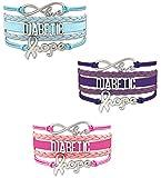 Diabetic Awareness Leather Multi Strap Bracelet 3 Pack, Smaller Wrists