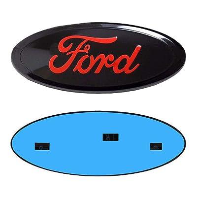 "9inch Ford Emblem, F150 Emblem Oval 9""X3.5"" Black Red Ford Front Grille Tailgate Emblem Decal Badge Nameplate Also Fits for 04-14 F250 F350,11-14 Edge,11-16 Explorer,06-11 Ranger: Automotive"