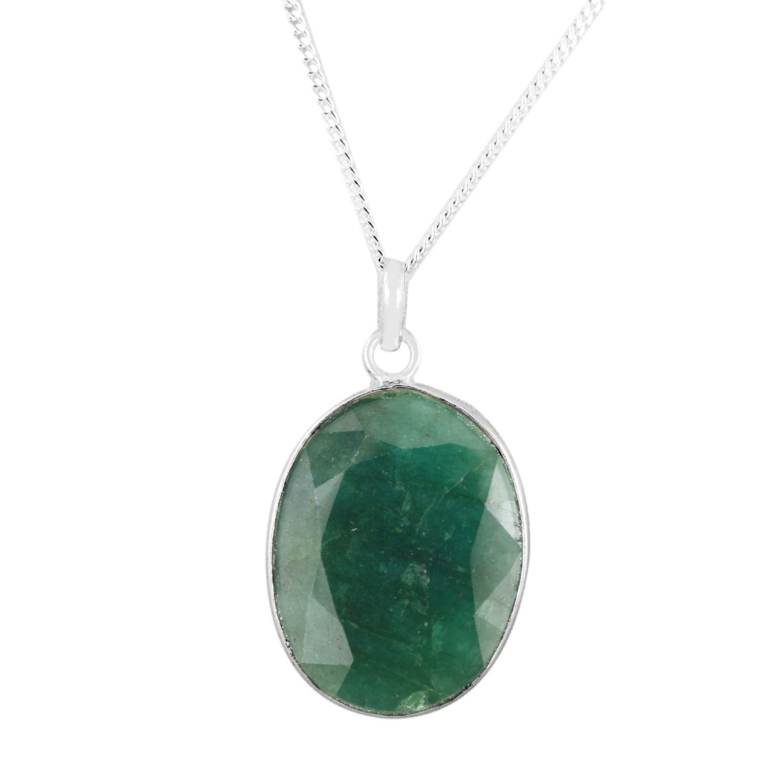 skyjewels 40.50 Cts Natural Emerald Gemstone Pendant with Free Chain