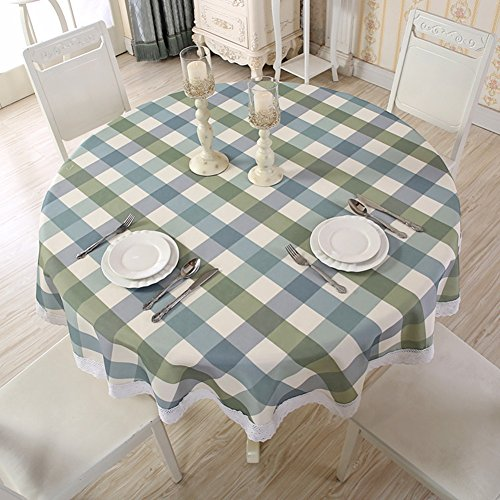 """MueYan Kitchen Dining Room Table Cloth Waterproof Oilproof Floral Printed Lace Edge Cloth Art Table Covers Anti Hot Coffee Tablecloths (70""""Round, Blue-white-green)"""