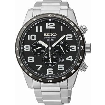 beec76079 Amazon.com: Seiko Gents Solar Chronograph Watch SSC229P9: Watches